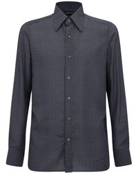 Tom Ford Рубашка Из Лиоцелл С Принтом - Синий
