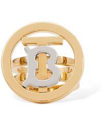 Burberry Circle Tb Thick Ring - Metallic