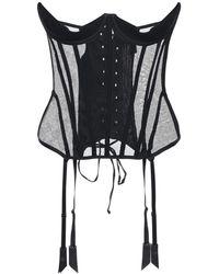 Kiki de Montparnasse シルクチュールコルセット - ブラック
