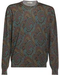 Etro Paisley インターシャウールセーター - グレー