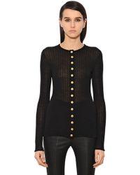 Balmain - Wool Rib Jersey Top W/ Buttons - Lyst