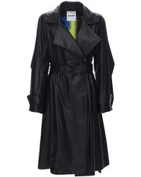 Koche Faux Leather Trench Coat - Black