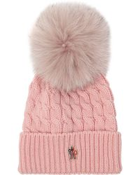 Moncler Grenoble - Wool Knit Beanie With Fur Pompom - Lyst