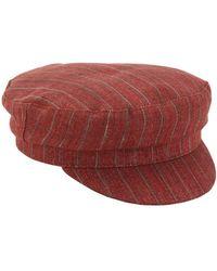 Isabel Marant リネン ストライプキャプテン帽 - レッド