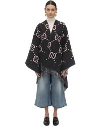 Gucci Gg Embroidered Wool Poncho - Gray