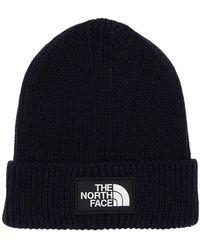 The North Face Logo Box Cuffed Acrylic Blend Beanie - Blue