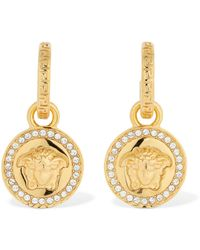 Versace Medusa Crystal-embellished Drop Earrings - Metallic
