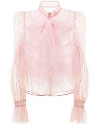 RED Valentino Блузка Из Тюля - Розовый
