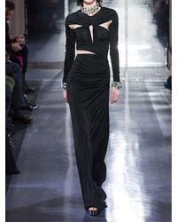Azzaro Langes Kleid Aus Jersey Mit Rüschen - Schwarz