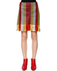 DROMe Woven & Fringed Nappa Leather Mini Skirt - Red