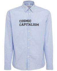 """Soulland Chemise En Coton Rayé """"cosmic Capitalism"""" - Bleu"""