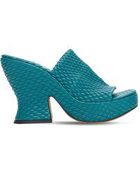 Bottega Veneta 115mm Wedge Quilted Leather Mules - Blue