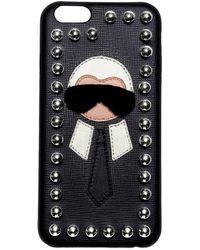 Fendi - Karl Mink Detail Leather Iphone 6 Case - Lyst