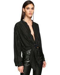 Saint Laurent モスリンラメシャツ - ブラック