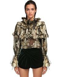 Saint Laurent - Ruffled Devoré Silk Shirt - Lyst