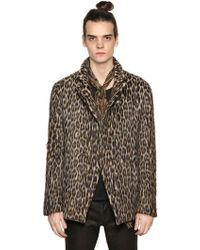 John Varvatos - Leopard Double Breasted Wool Jacket - Lyst