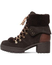 379b1663 40mm Eileen Suede & Fur Ankle Boots - Gray