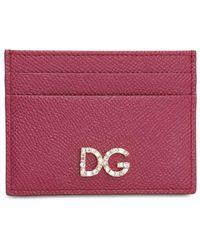 Dolce & Gabbana Dauphine Leather Card Holder - Purple