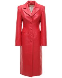 Matériel Faux Leather Trench Coat - Red