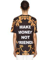 MAKE MONEY NOT FRIENDS Bedrucktes T-shirt Aus Baumwolljersey - Schwarz