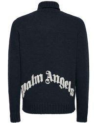 Palm Angels Rollkragenpullover Aus Wollmischstrick Mit Logo - Blau