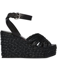 Prada - 105mm Woven Satin & Leather Wedges - Lyst