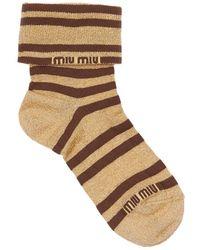 Miu Miu Socken Aus Lurex Mit Logo - Braun