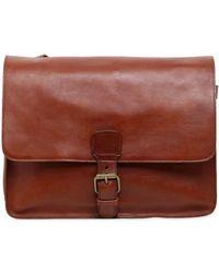 Officine Creative Brushed Leather Messenger Bag - Brown