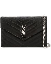 Saint Laurent Borsa Piccola In Pelle Trapuntata Con Logo - Nero
