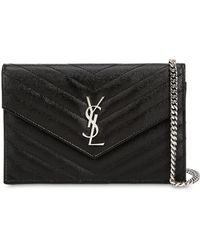 Saint Laurent Sm Monogram Quilted Leather Bag - Black