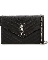 Saint Laurent Sm Monogram Quilted Leather Bag - Noir