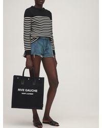 Saint Laurent Rive Gauche コットンキャンバストートバッグ - ブラック