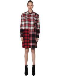 McQ - Patchwork Cotton Plaid Shirt Dress - Lyst