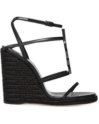Saint Laurent Cassandra Wedge Espadrilles With Tonal Ysl Logo - Black