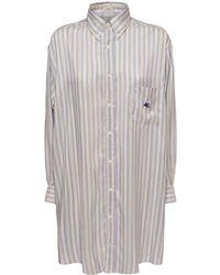 Etro Шёлковая Рубашка-платье Оверсайз В Полоску - Многоцветный