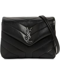 "Saint Laurent Borsa ""Toy Loulou"" In Pelle Con Logo - Nero"