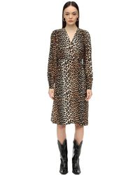 Ganni - Leopard シルクブレンドドレス - Lyst