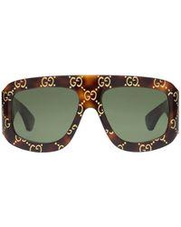 Gucci Sonnenbrille Aus Acetat Mit Gg-logo - Grün