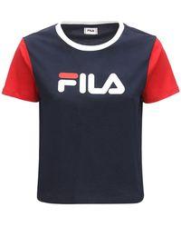 Fila Salome Logo Cotton T-shirt - Blau