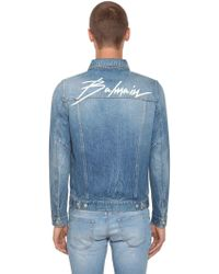 e70e51d5 Balmain - Logo Embroidered Cotton Denim Jacket - Lyst