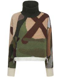 Sacai Wool Jacquard Knit Turtleneck Sweater - Green