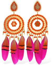 Mercedes Salazar Chaman Beaded Feather Clip-on Earrings - Mehrfarbig