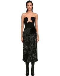 Saint Laurent Платье Из Жоржета С Люрексом - Черный