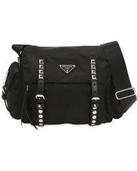 Prada - Nylon Shoulder Bag W/ Studded Straps - Lyst