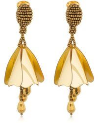 Oscar de la Renta Small Impatiens Earrings - Metallic