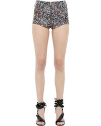 Isabel Marant | Floral Printed Nappa Leather Shorts | Lyst