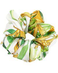 Versace Chouchou En Soie Imprimé Barocco - Vert