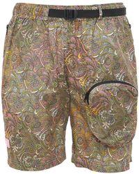 LC23 Paisley Printed Techno Shorts - Natural