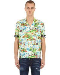 DSquared² Bowlinghemd Aus Viskose Mit Druck - Grün
