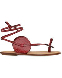 Loewe 10mm Disc Leather Thong Sandals - Red